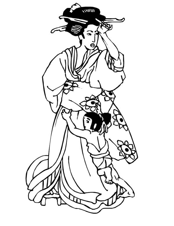600x776 Geisha In Classic Drawing Coloring Page