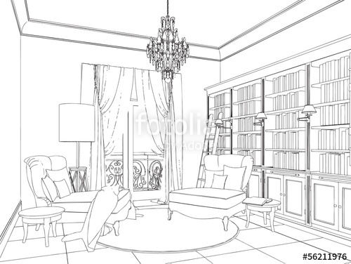 500x376 Classic Interior Hand Drawing Stock Image And Royalty Free Vector