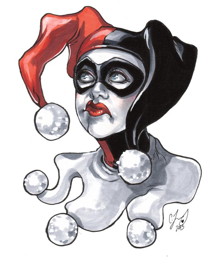 700x824 Harley Quinn Bust Sketch By Cassandrajames
