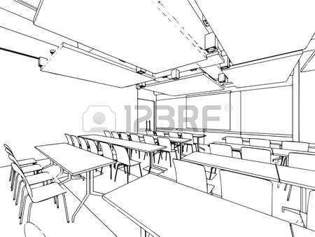 450x338 Interior Outline Sketch Drawing Perspective Of A Space Office