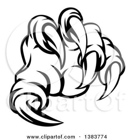 450x470 Clipart Of Black And White Monster Claw With Sharp Talons