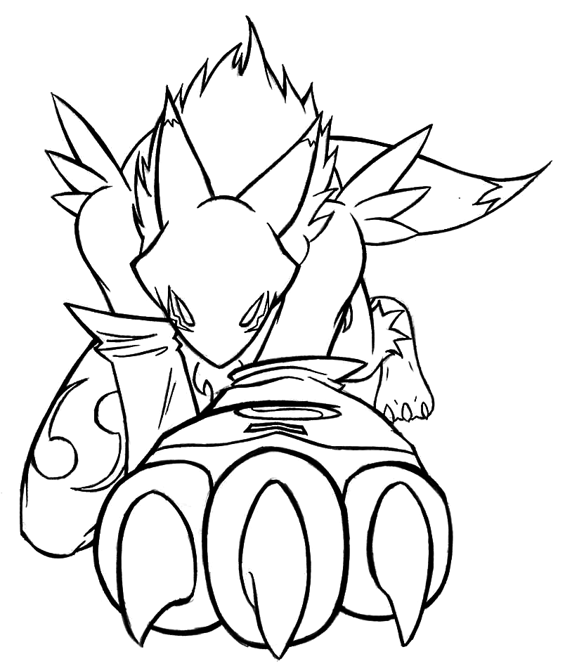 804x948 Renamon Claw Lineart By Icerenamon