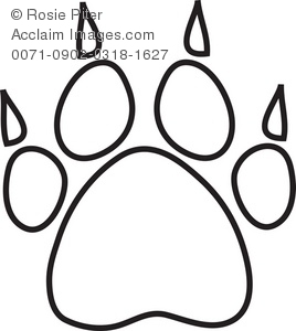268x300 Illustration Of A Dog Paw Print With Claws