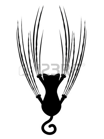 338x450 Stylized Cat Silhouette With Claw Scratches Marks. Royalty Free