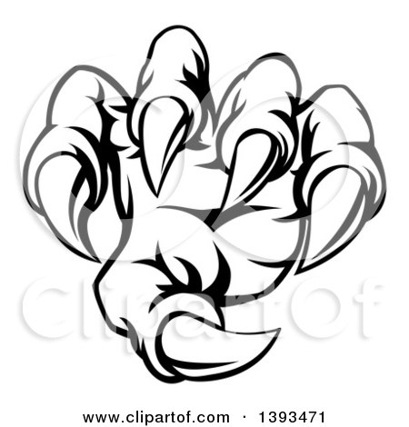 450x470 Clipart Of Black And White Monster Claw Breaking Through A Wall