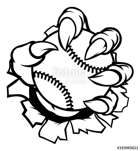 465x500 Monster Or Animal Claw Holding Baseball Ball Stock Image