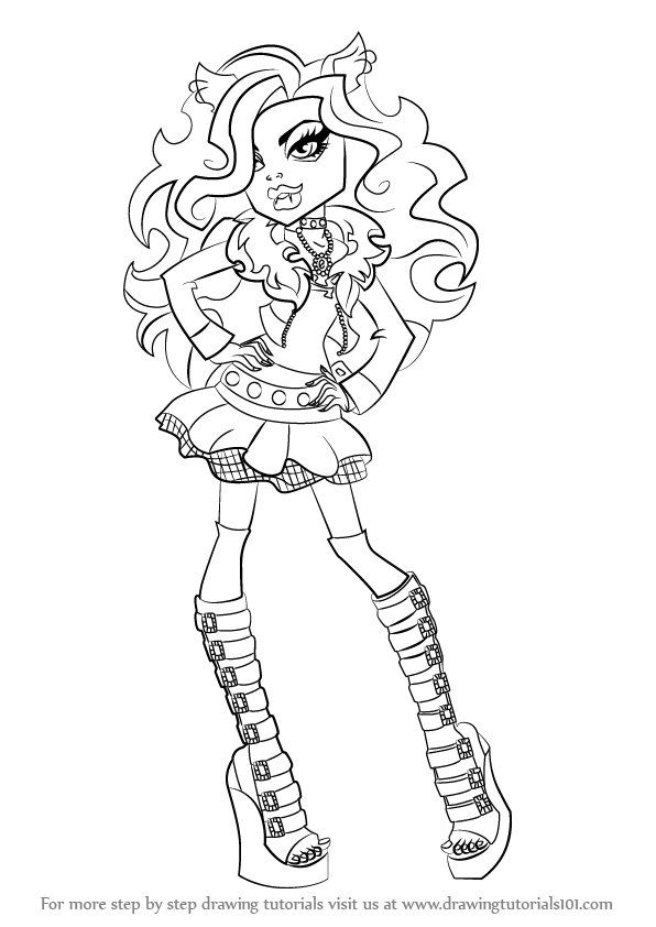 596x842 Learn How To Draw Clawdeen Wolf From Monster High (Monster High
