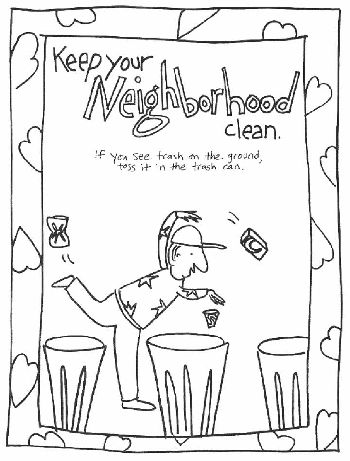 720x948 This Coloring Page For Kids Focuses On Keeping Your Neighborhood
