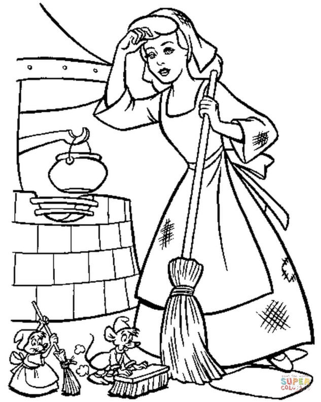 633x794 Cinderella Must Keep Her House Clean Coloring Page Free