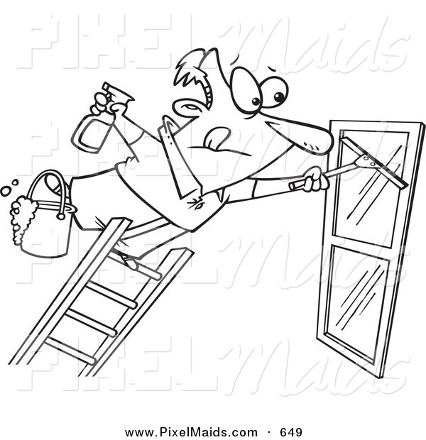 600x620 Clipart Of A Coloring Page Line Art Design Of A Window Cleaner