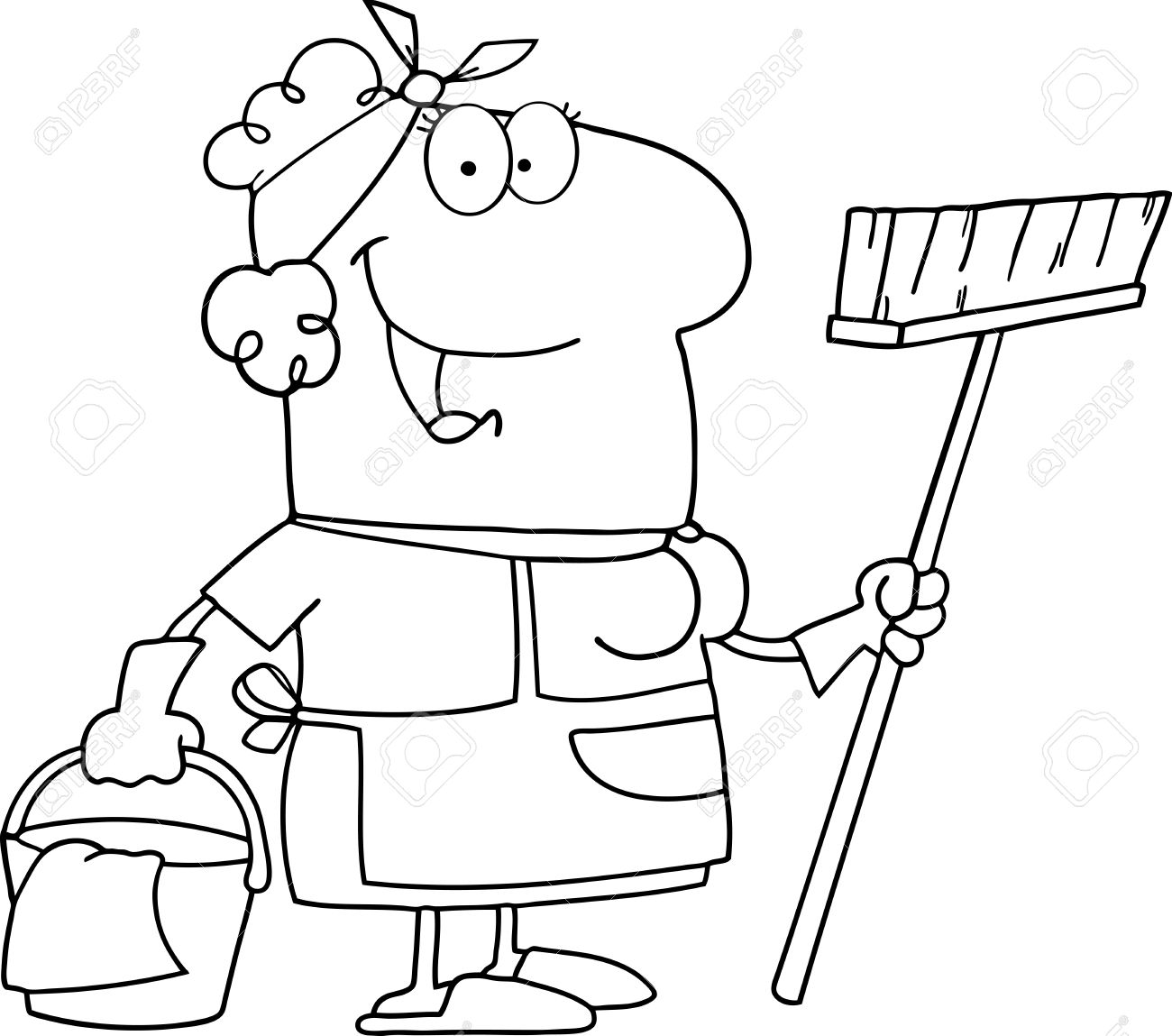 1300x1149 Outlined Cleaning Lady Cartoon Character Royalty Free Cliparts