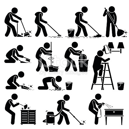 416x416 Set Of Vector Stick Man Pictogram Representing Cleaner Washing