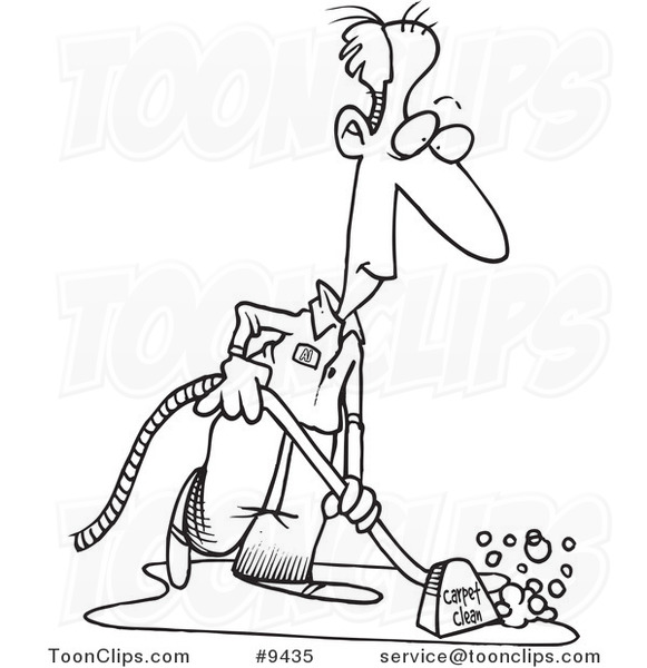 581x600 Cartoon Black And White Line Drawing Of A Carpet Cleaner