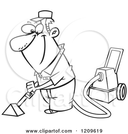 450x470 Cartoon Of A Black And White Happy Man Cleaning Carpets