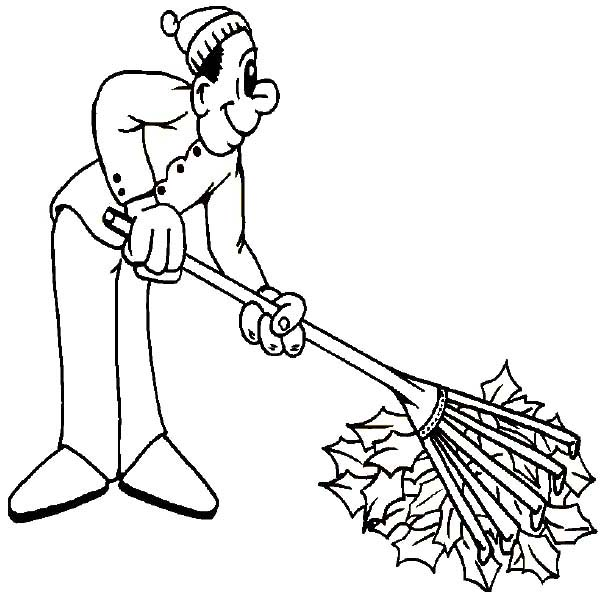 600x592 Father Cleaning Autumn Leaf On Autumn Coloring Page