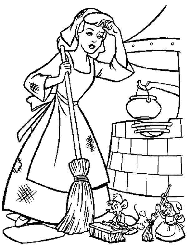 600x800 Cinderella Cleaning Her House In Coloring Page