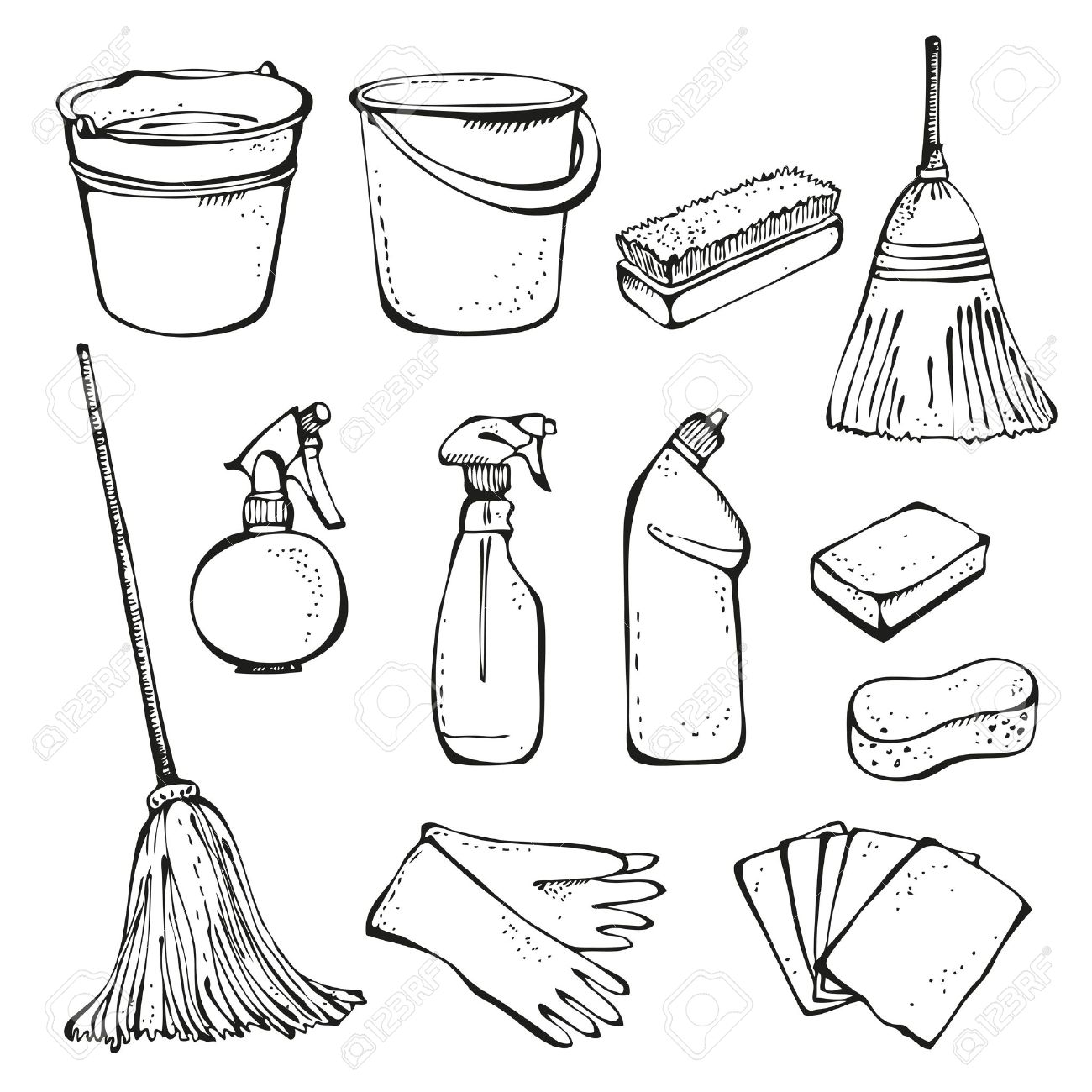 1300x1300 Home Office Cleaning Supplies Doodle Clip Art Icons Stock Vector