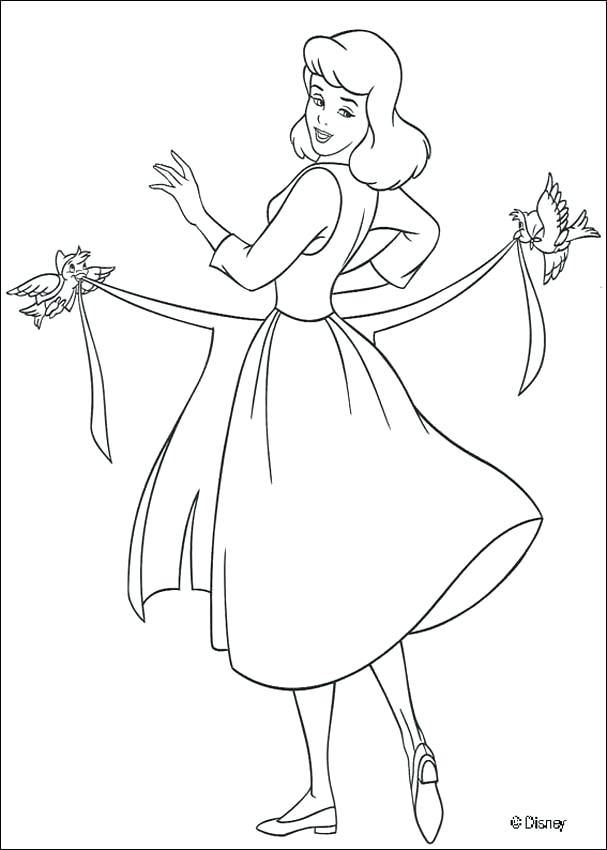 607x850 Cinderella Printable Coloring Pages Cleaning The House Dressing Up