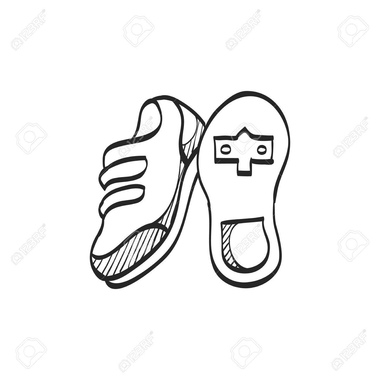 1300x1300 Cycling Shoe Icon In Doodle Sketch Lines. Sport Road Race Time