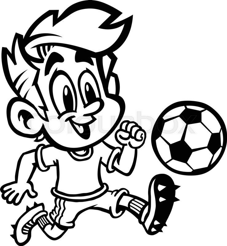 739x800 Cartoon Boy Kid Playing Football Or Soccer In A Green T Shirt