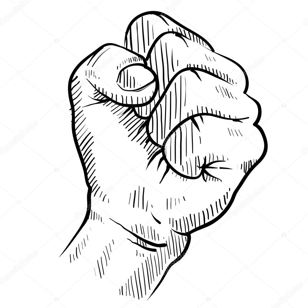 1024x1024 Clenched Fist Sketch Stock Vector Lhfgraphics
