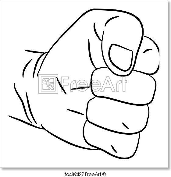 561x581 Free Art Print Of Clenched Fist. Simple Line Drawing Of A Human