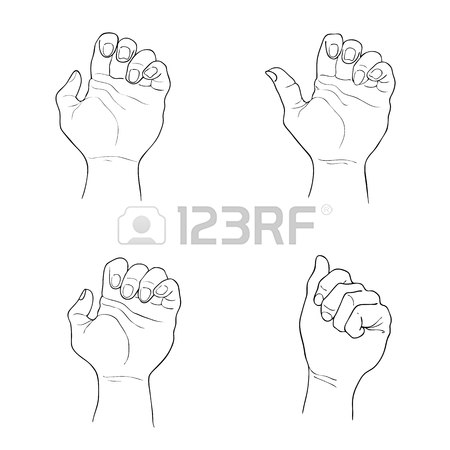450x450 Hand Drawn Sketch Set Of Clenched Fists Raised Up And Giving