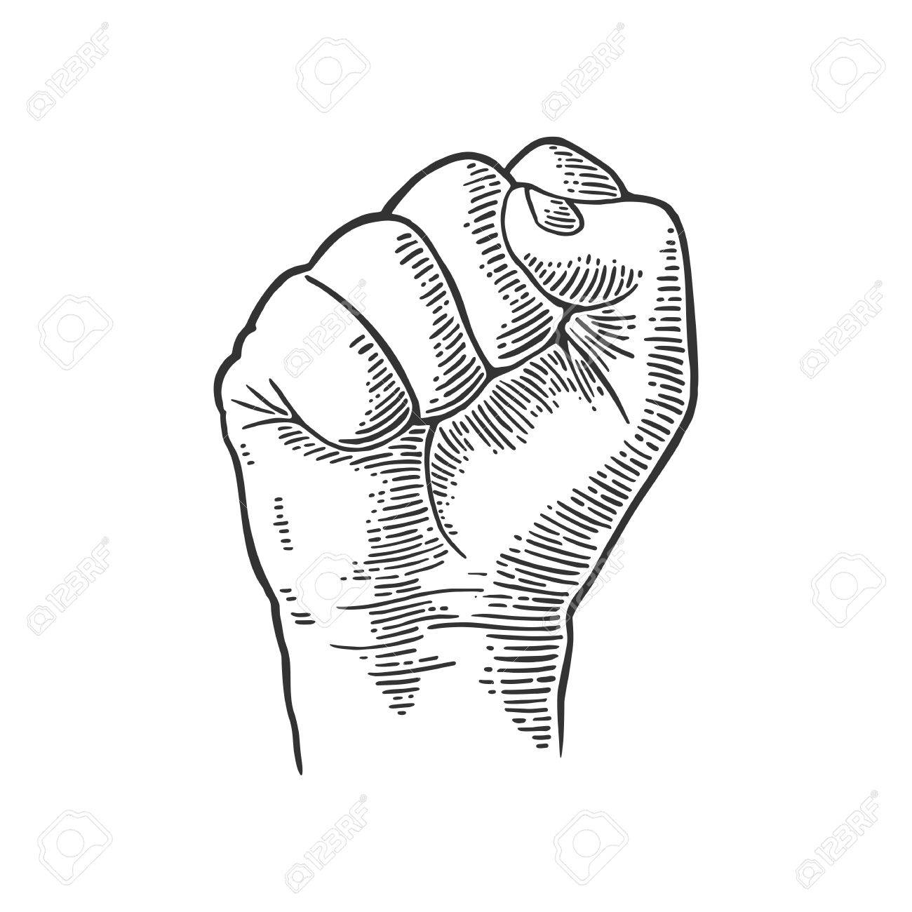 1300x1300 Human Hand With A Clenched Fist. Vector Black Vintage Engraved