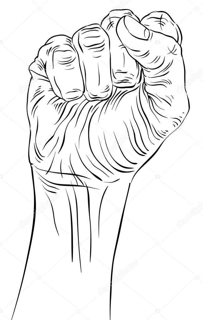 651x1024 Clenched Fist Held High In Protest Hand Sign, Detailed Black