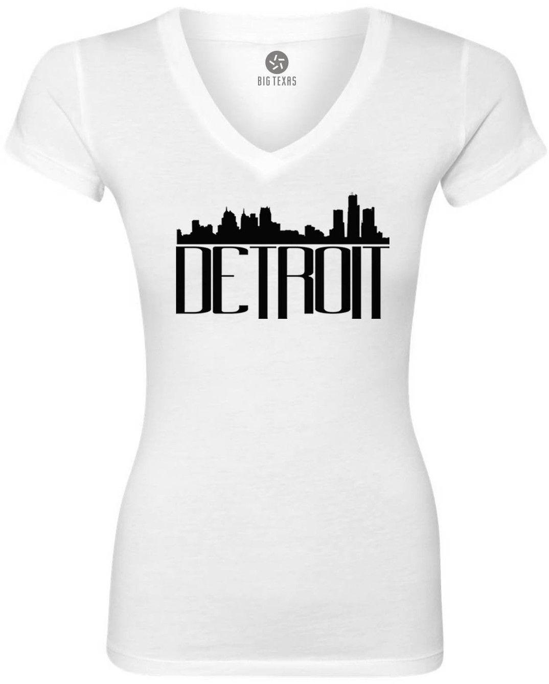 1074x1339 Detroit Skyline (Black) Women's Short Sleeve V Neck T Shirt
