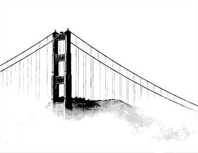 400x309 Golden Gate Bridge Silhouette Metal Golden Gate