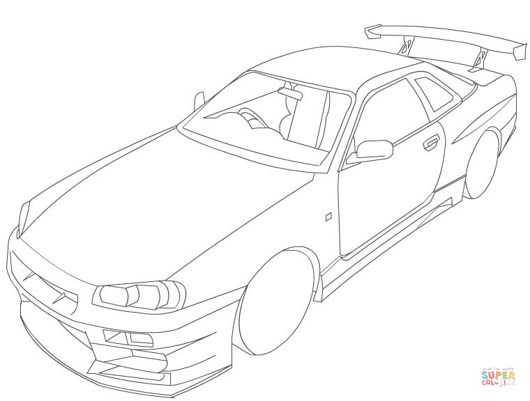760x576 Nissan Skyline R34 Coloring Page Free Printable Coloring Pages