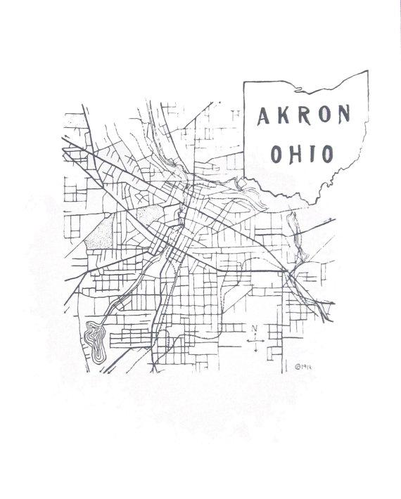 570x710 Sale 11'' X 14'' Akron Ohio 1916 Map