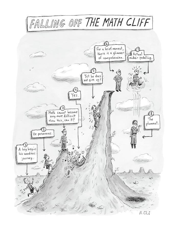 693x900 Falling Off The Math Cliff Drawing By Roz Chast