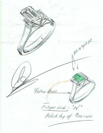 398x510 Hand Drawn Design By Robert Cliff. Jewellery Rendering