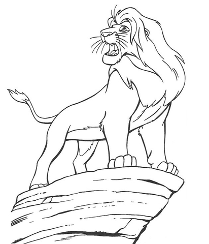 412x480 Mufasa On The Cliff Edge Coloring Page Free Printable Coloring Pages