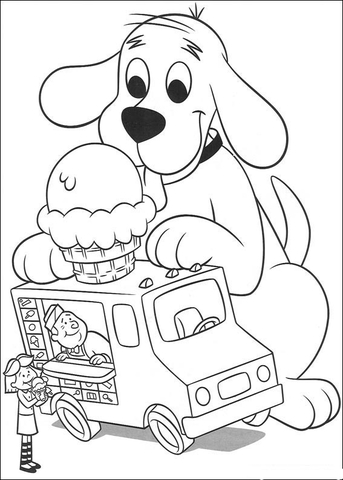 343x480 Clifford Wants Some Ice Cream Coloring Page Free Printable