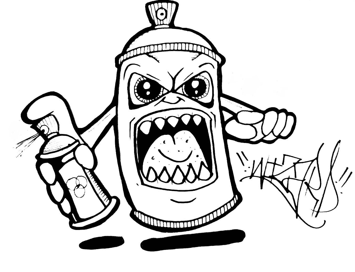 1350x1035 Drawing Evil Spray Can Drawing Also Graffiti Spray Can Drawing
