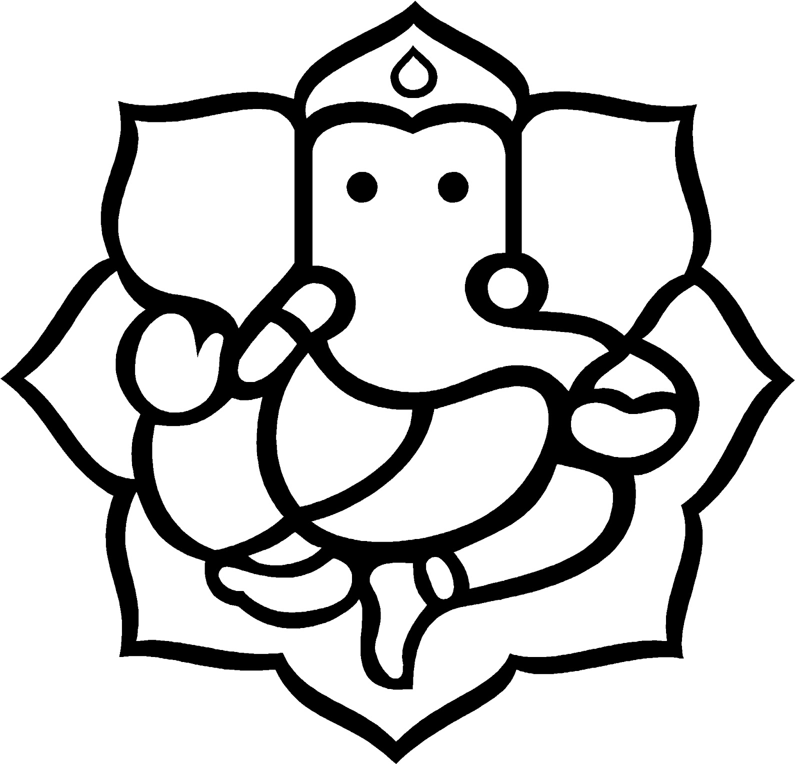 1600x1528 Ganpati Clipart Black And White amp Ganpati Clip Art Black And White