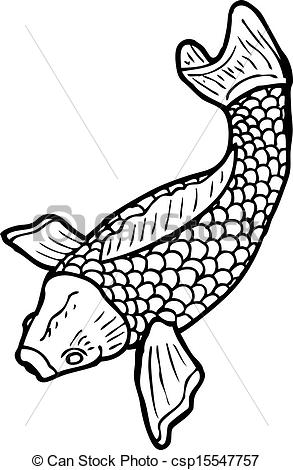 293x470 Black and white japanese fish tattoo clipart vector