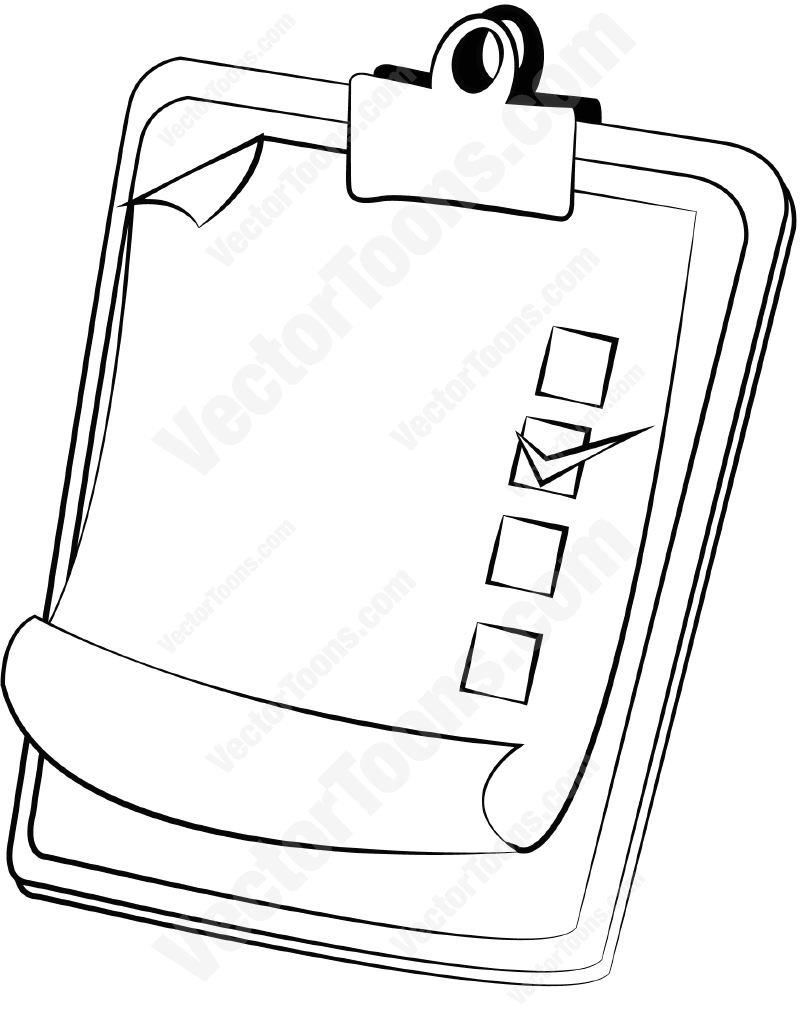805x1024 Clipboard And Paper With Checkboxes Cartoon Clipart