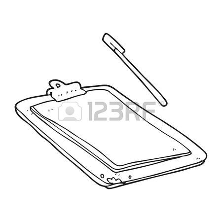 450x450 Freehand Drawn Black And White Cartoon Clip Board Royalty Free