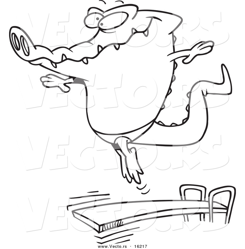 1024x1044 Vector Of A Cartoon Gator Bouncing Off A Diving Board