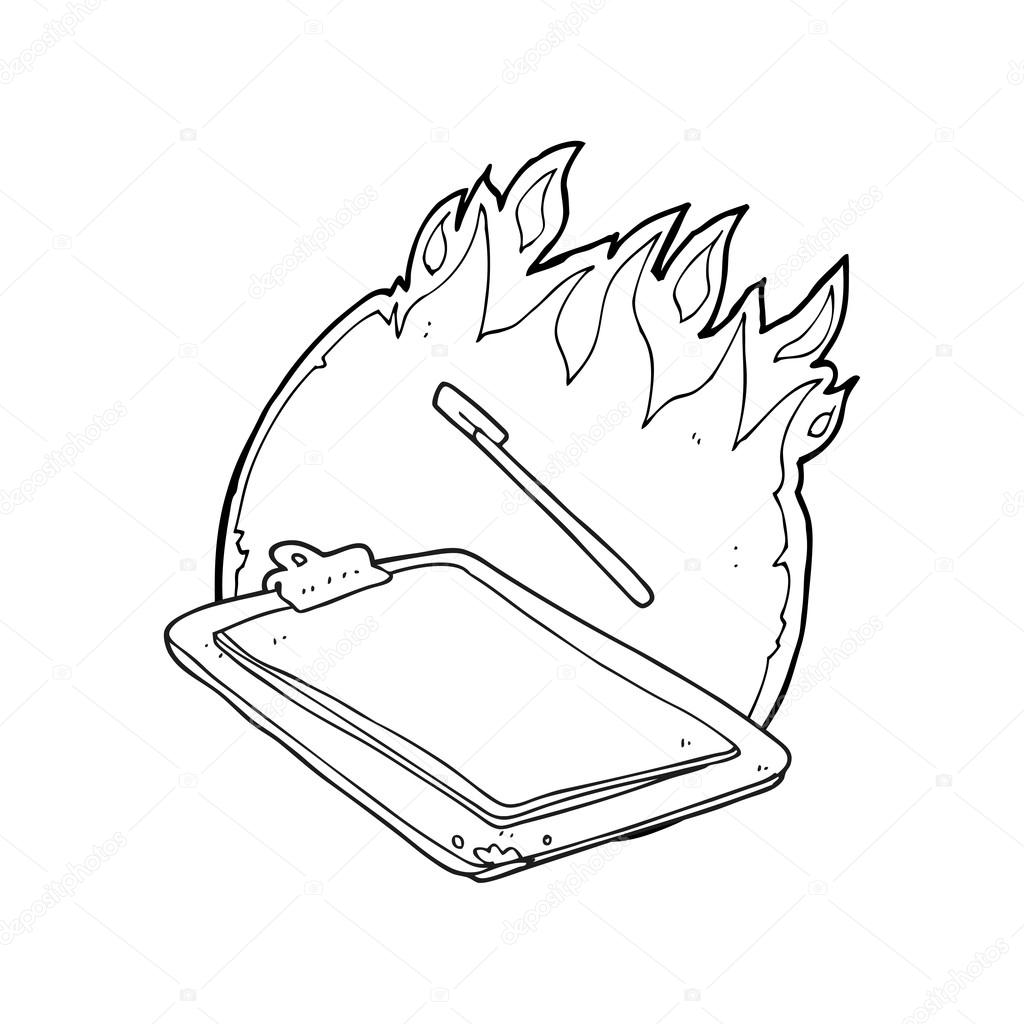 1024x1024 Black And White Cartoon Clip Board On Fire Stock Vector