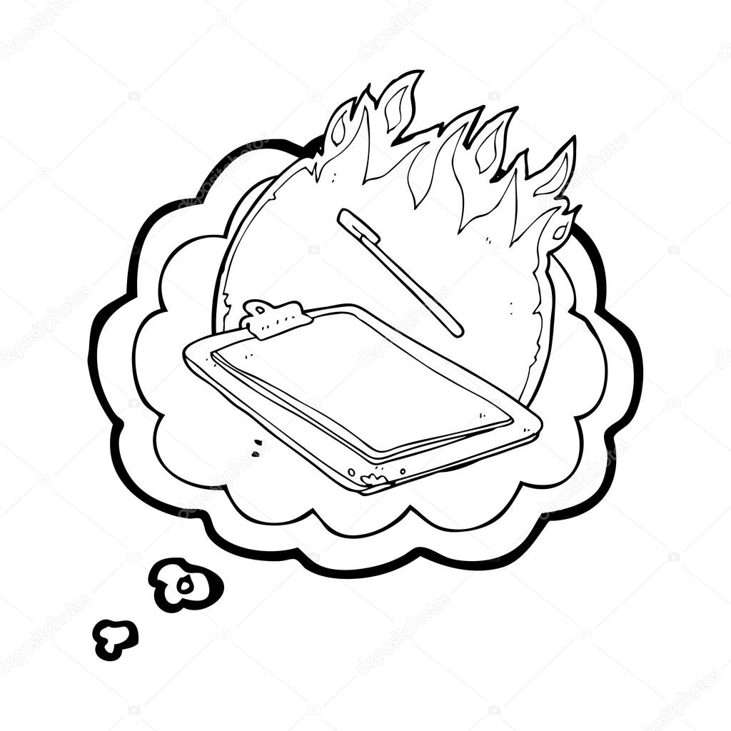 1024x1024 Thought Bubble Cartoon Clip Board On Fire Stock Vector