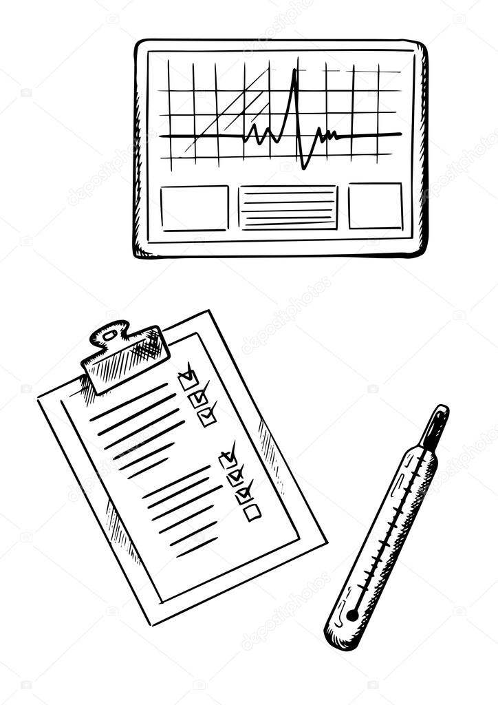 724x1024 Cardiogram, Medical History, Thermometer Sketches Stock Vector