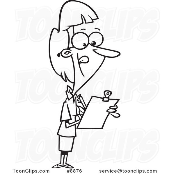 581x600 Cartoon Black And White Line Drawing Of A Female Supervisor Using