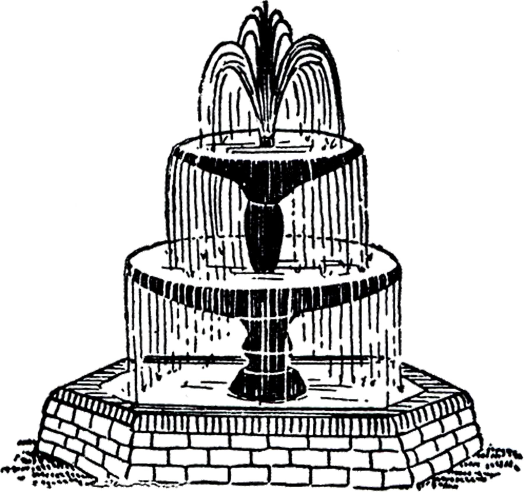 1800x1691 Free Vintage Fountain Clip Art!