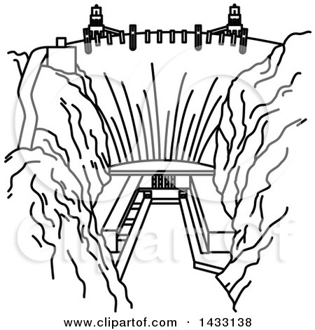 450x470 Clipart Of A Black And White Sketched Dam