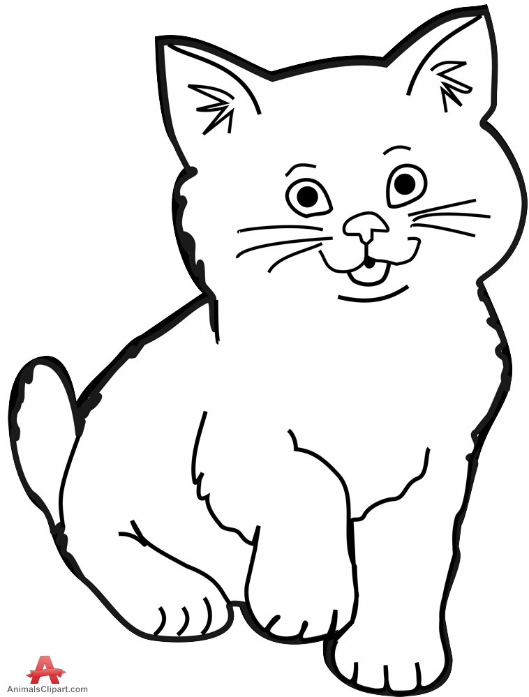 758x999 Contour Drawing Of Little Kitten Cat Free Clipart Design Download